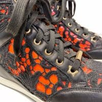 Jimmy Choo Black/Neon Leather and Lace Tokyo Hightops  - Size 3